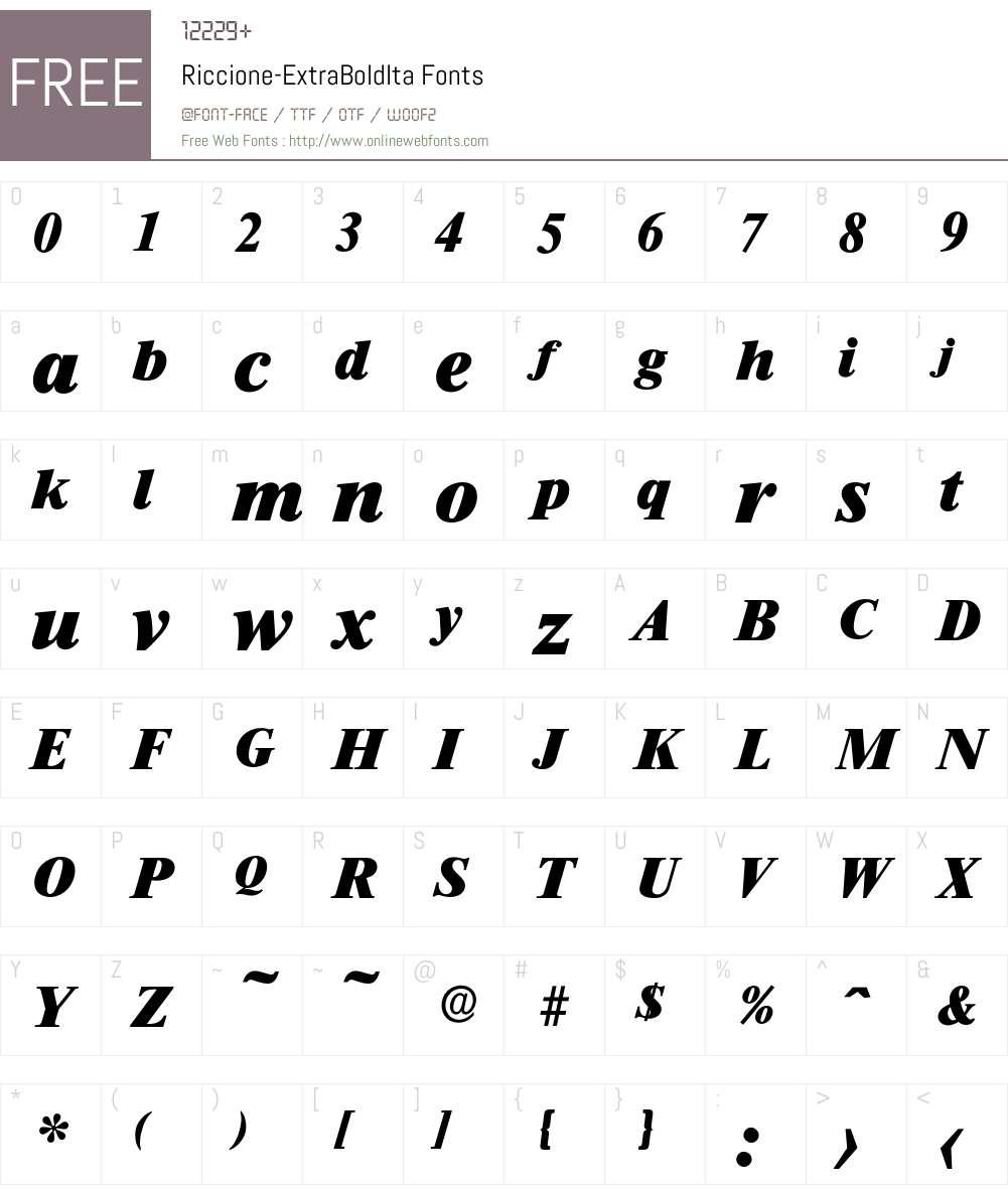 Riccione-ExtraBoldIta Font Screenshots