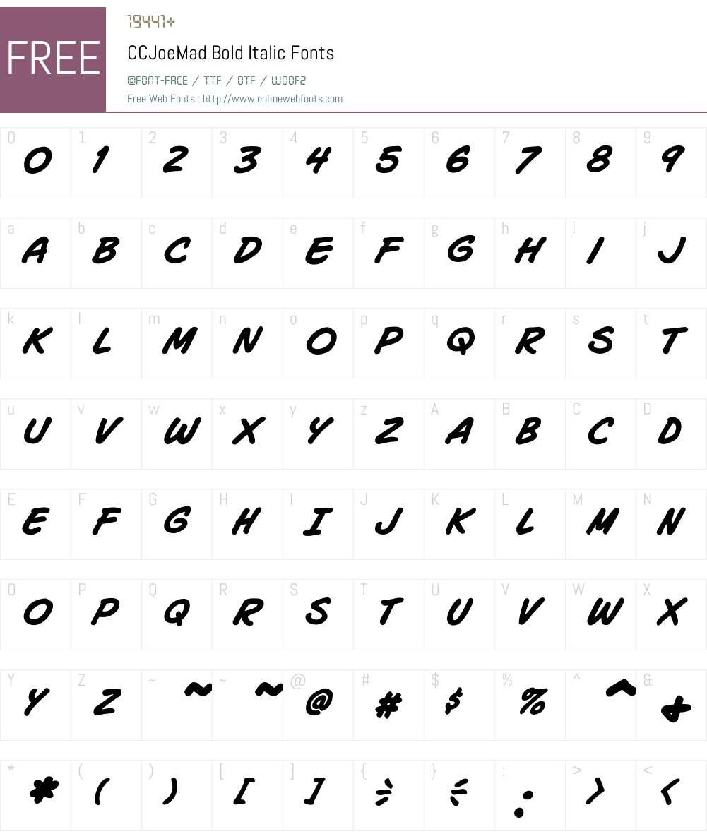 CCJoeMad-BoldItalic Font Screenshots