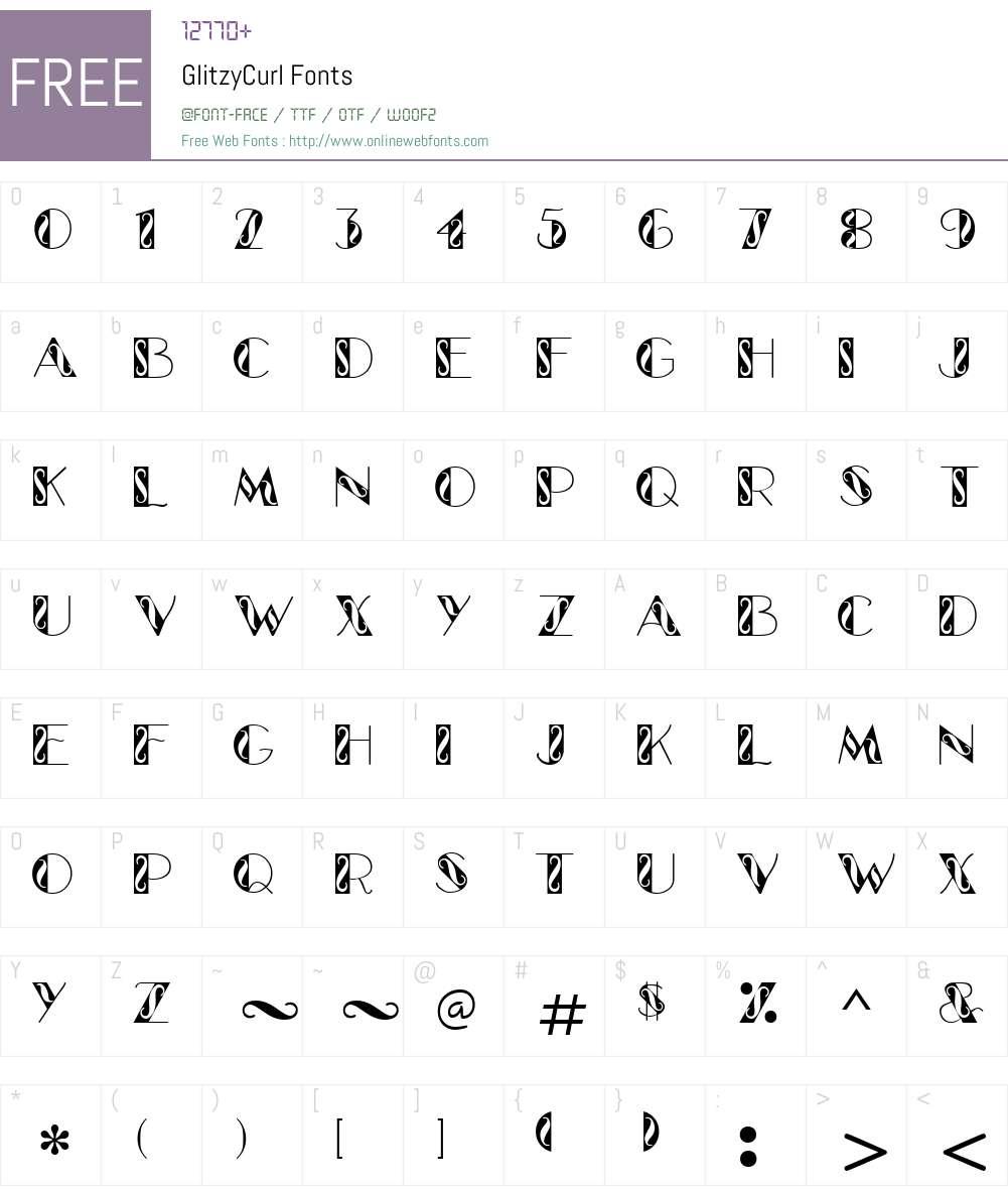GlitzyCurl Font Screenshots
