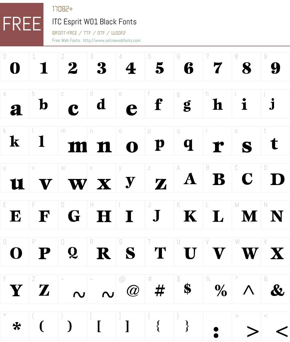 ITCEspritW01-Black Font Screenshots