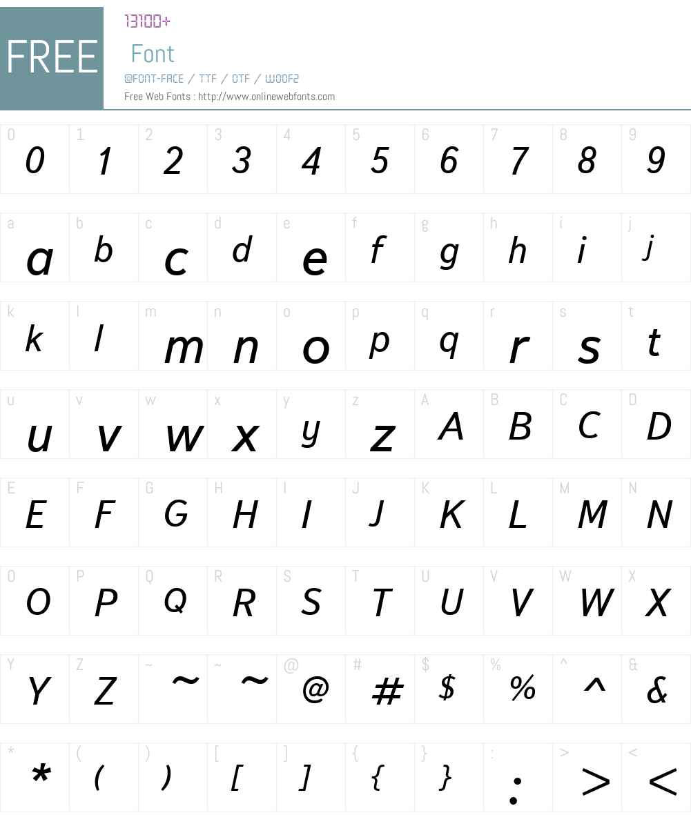 TextbookNewW01-RegItalic Font Screenshots