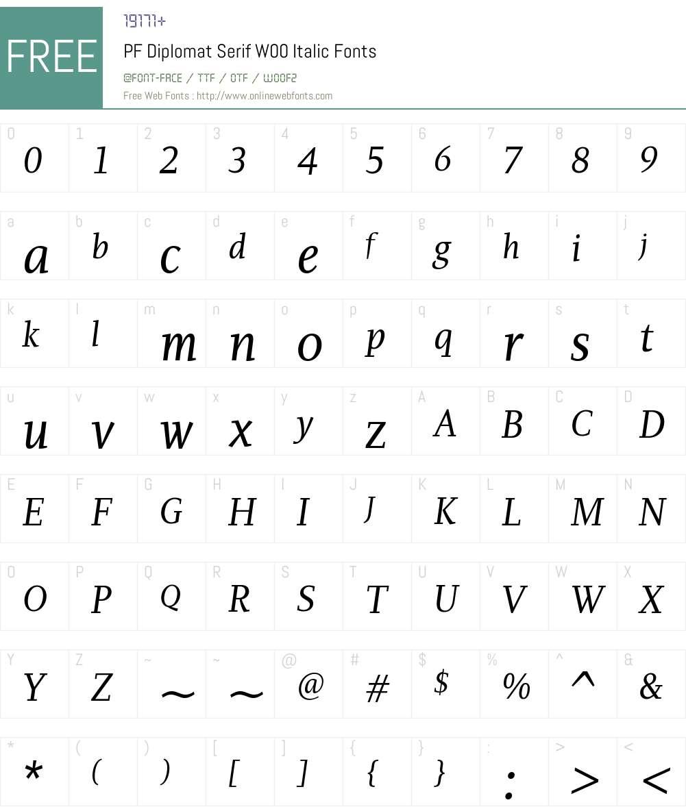 PFDiplomatSerifW00-Italic Font Screenshots