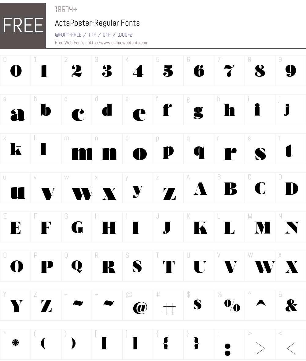 ActaPoster-Regular Font Screenshots