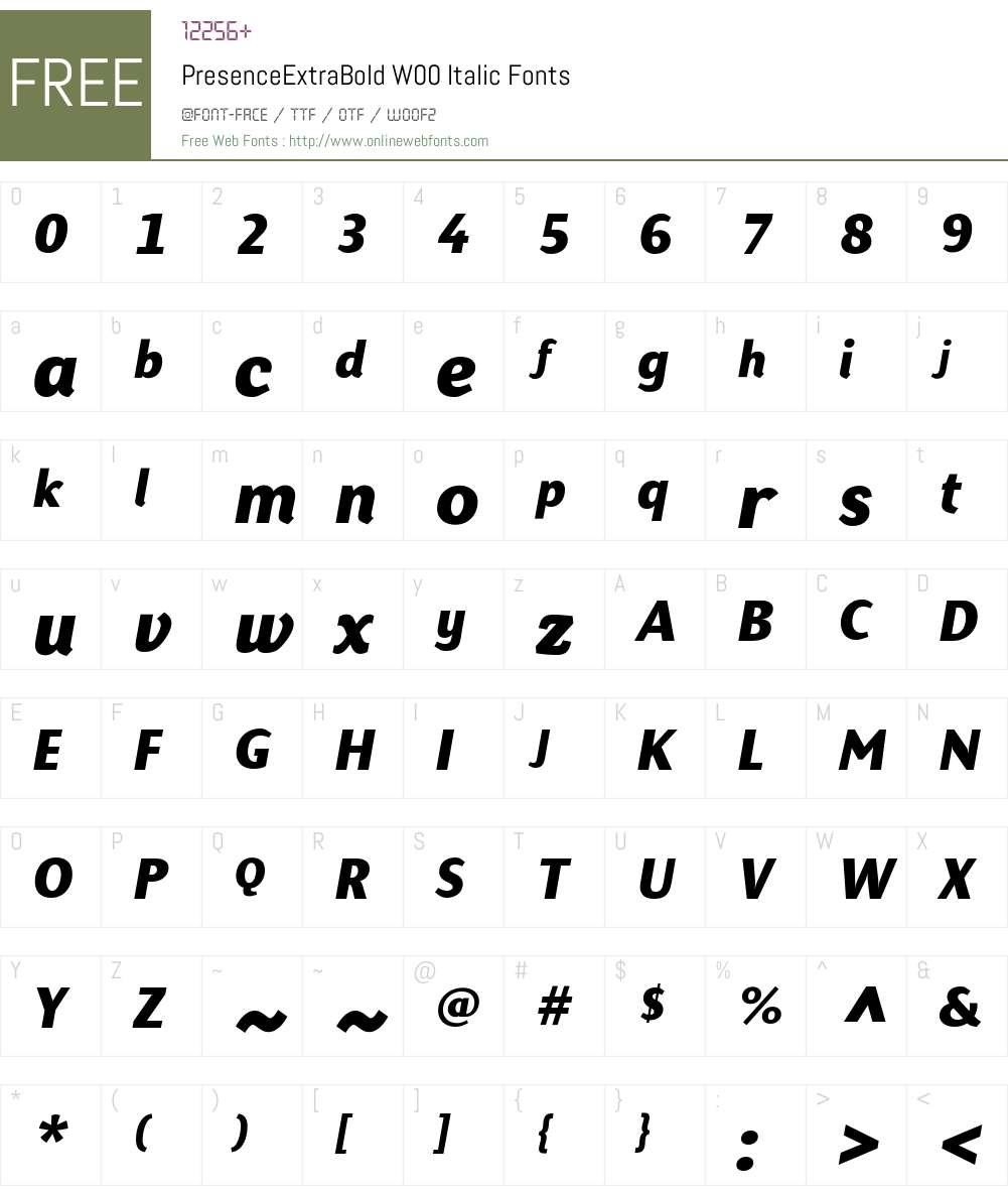 PresenceExtraBoldW00-Italic Font Screenshots
