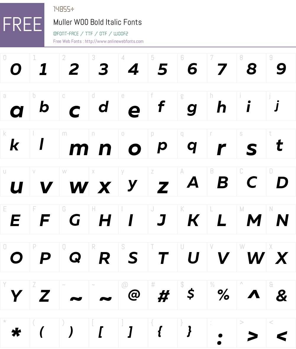 MullerW00-BoldItalic Font Screenshots
