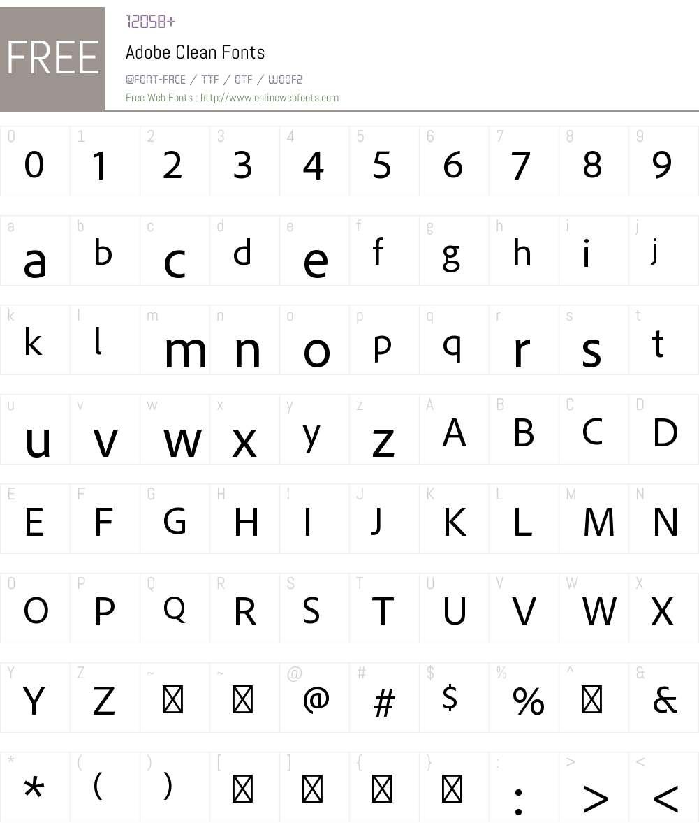 Adobe Clean Font Screenshots