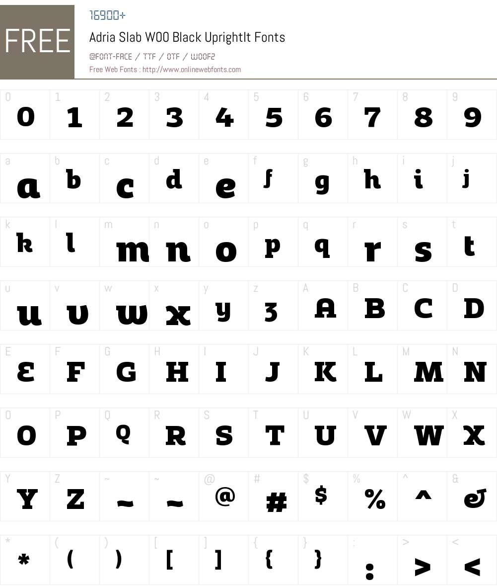 AdriaSlabW00-BlackUprightIt Font Screenshots