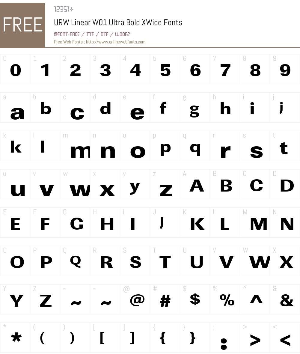 URWLinearW01-UltraBoldXWide Font Screenshots