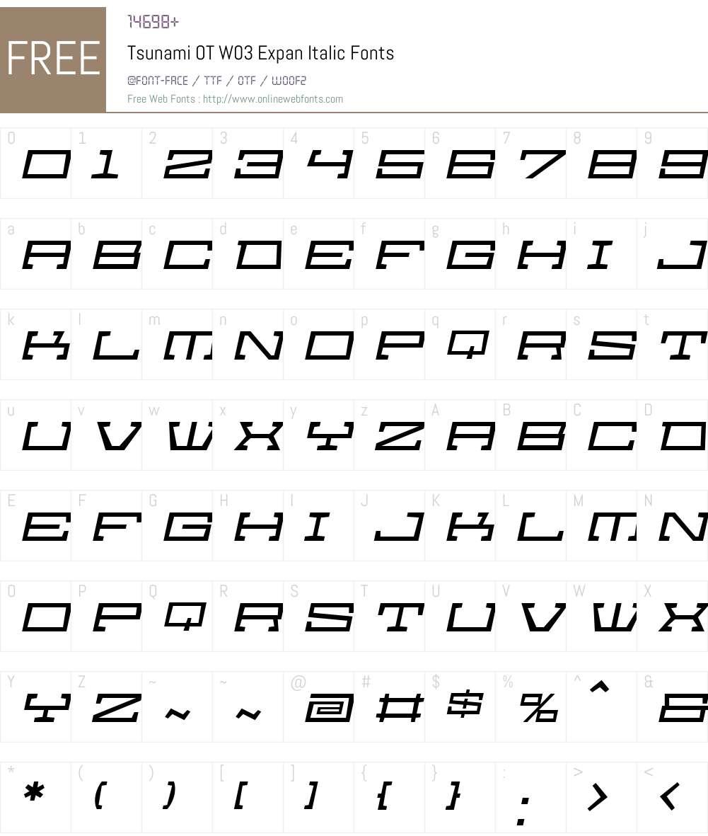 FF Tsunami Font Screenshots