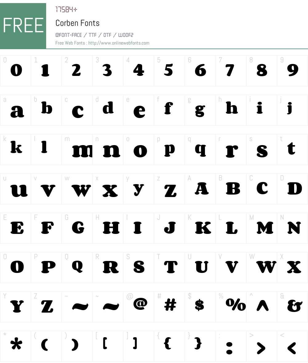 Corben Font Screenshots