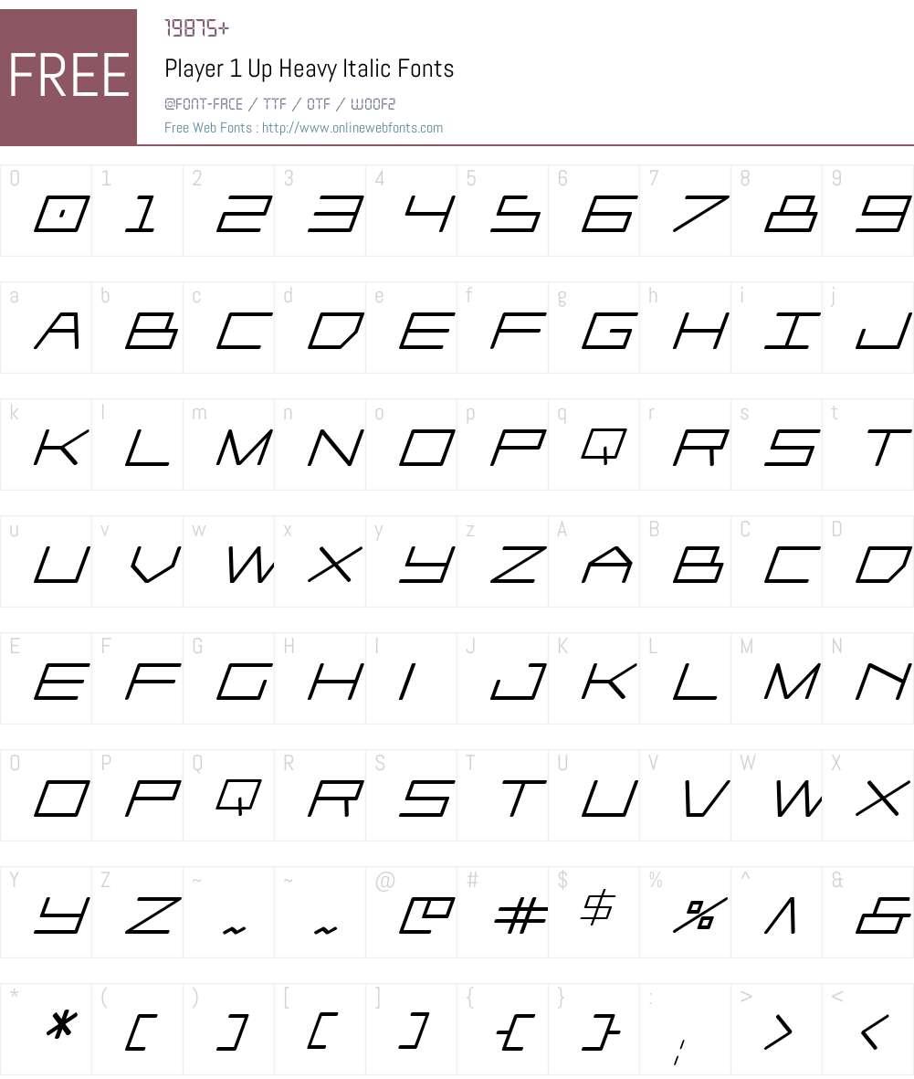 Player 1 Up Heavy Italic Font Screenshots