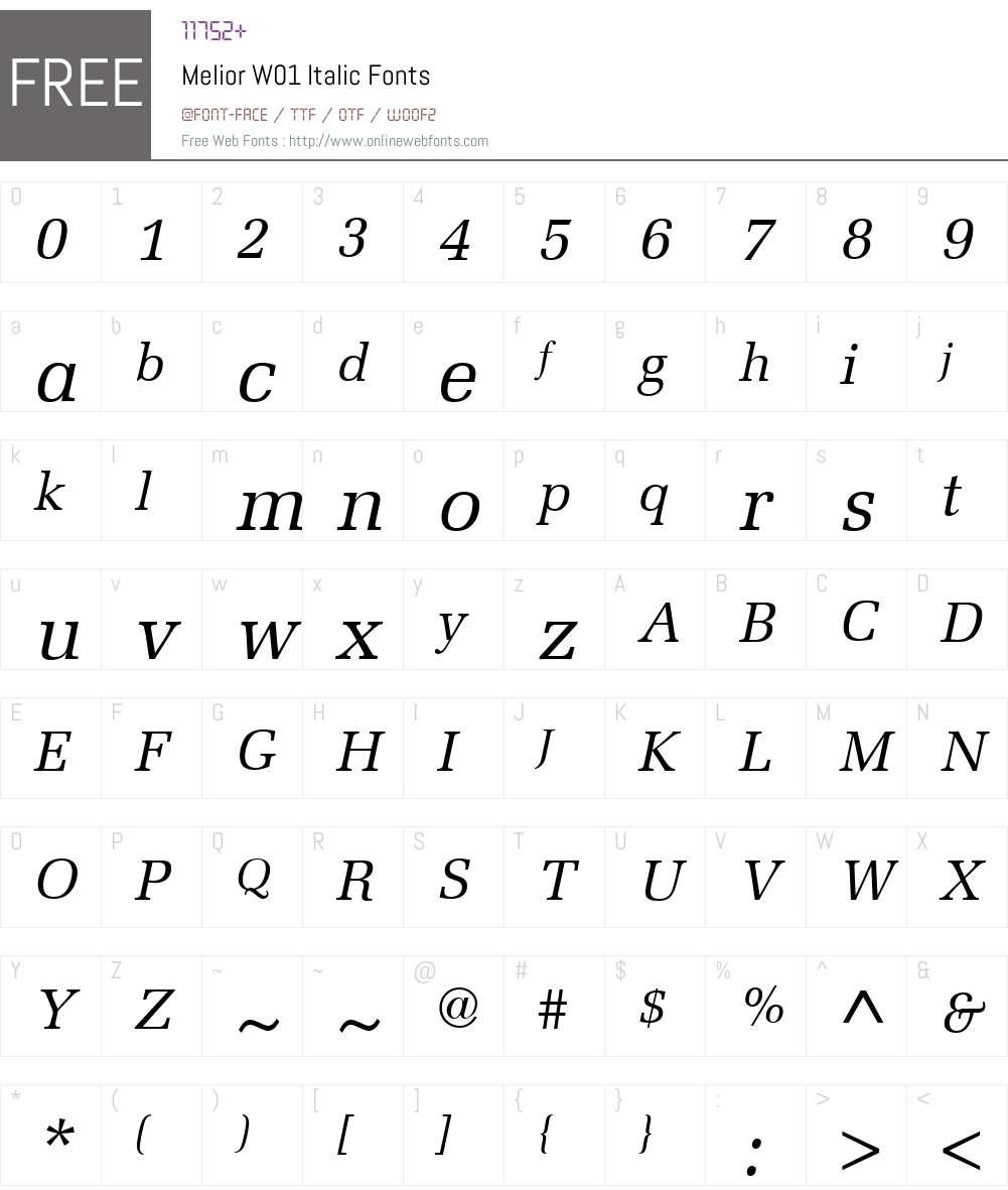 MeliorW01-Italic Font Screenshots