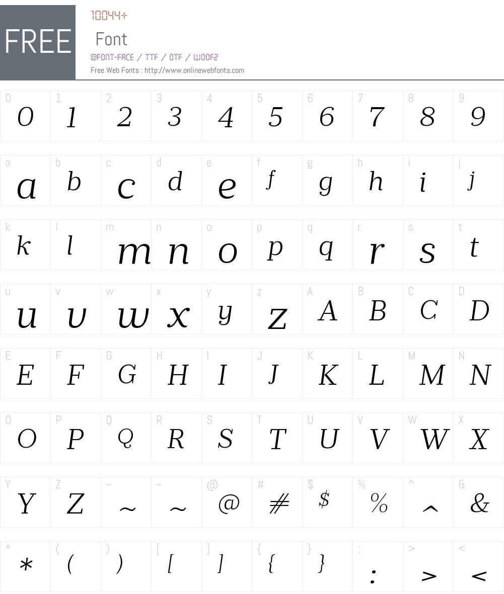 PrumoSlabW00-LightItalic Font Screenshots