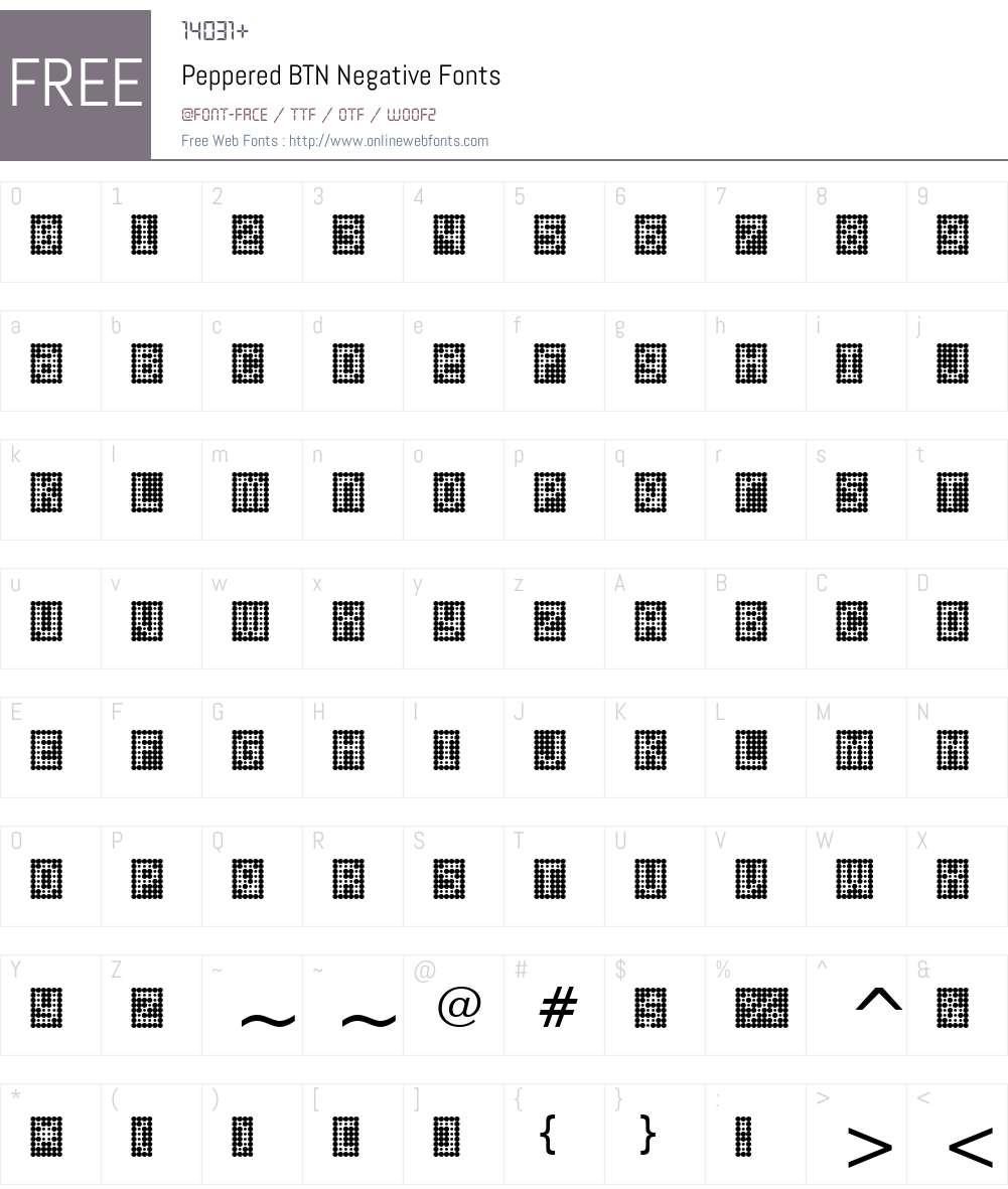 Peppered BTN Negative Font Screenshots