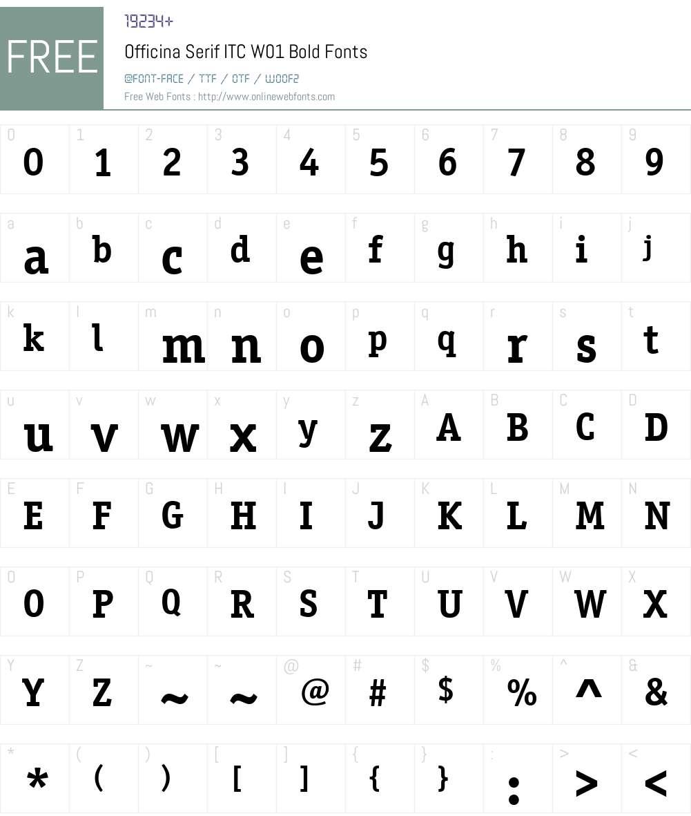 OfficinaSerifITCW01-Bold Font Screenshots