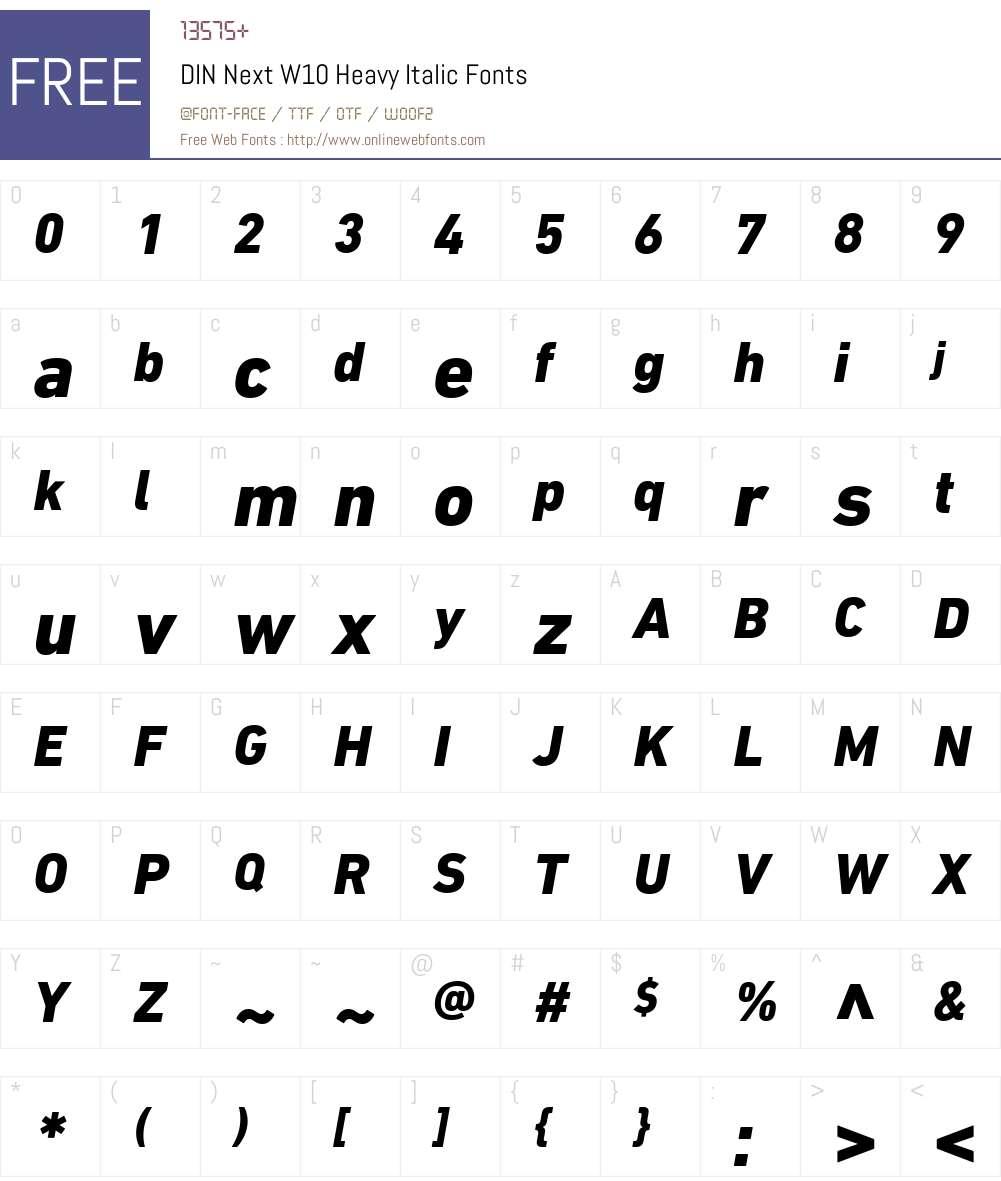 DINNextW10-HeavyItalic Font Screenshots