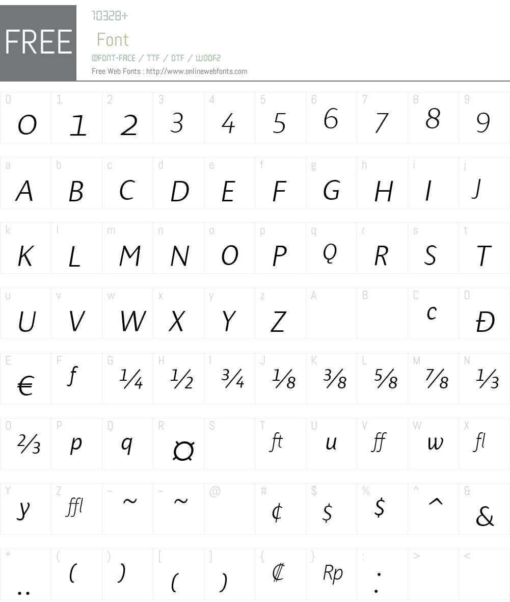 PresenceExpertLightW90-It Font Screenshots