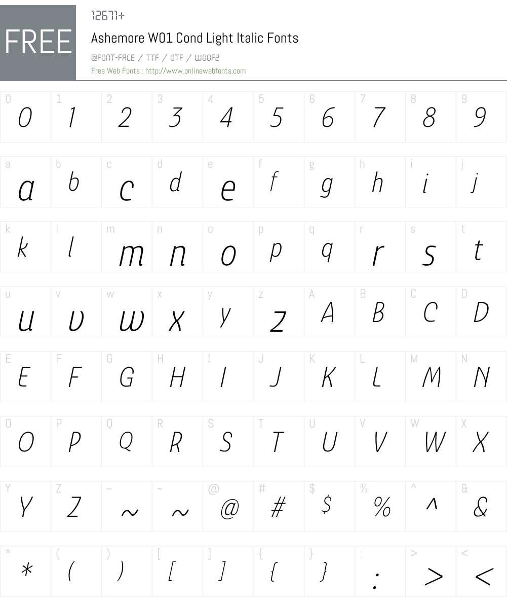 AshemoreW01-CondLightItalic Font Screenshots
