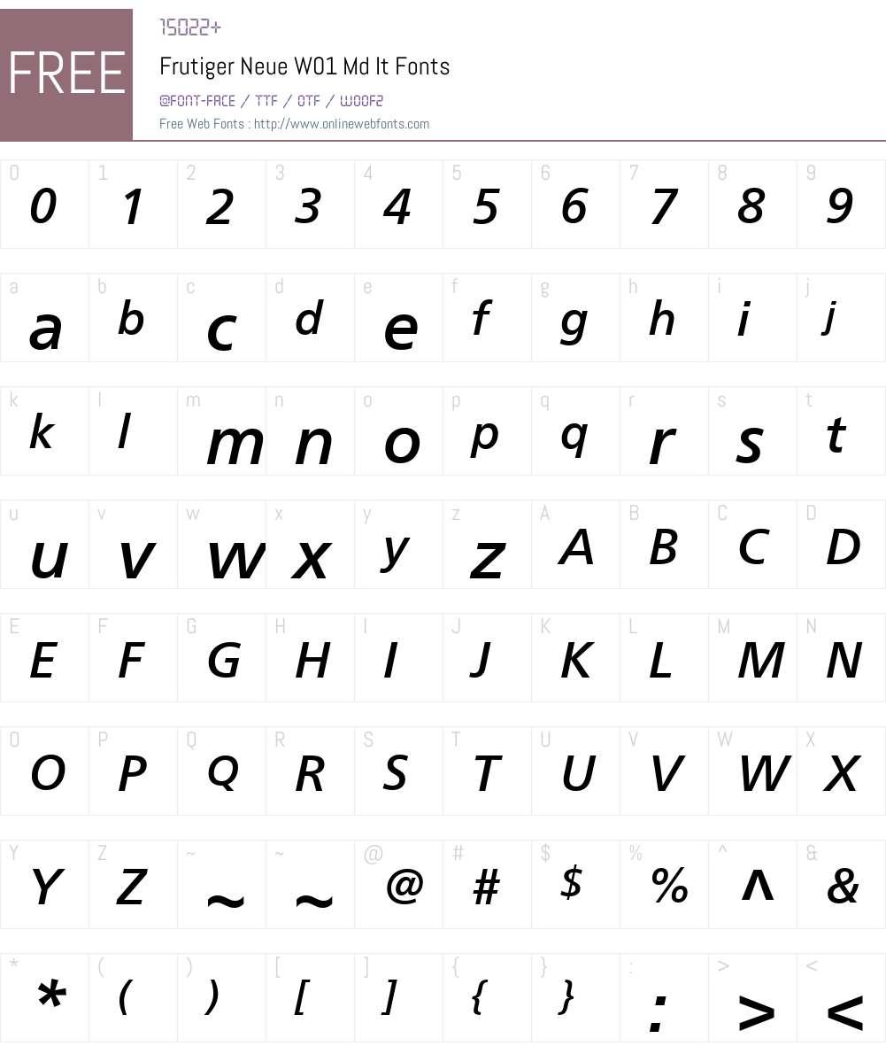 FrutigerNeueW01-MdIt Font Screenshots