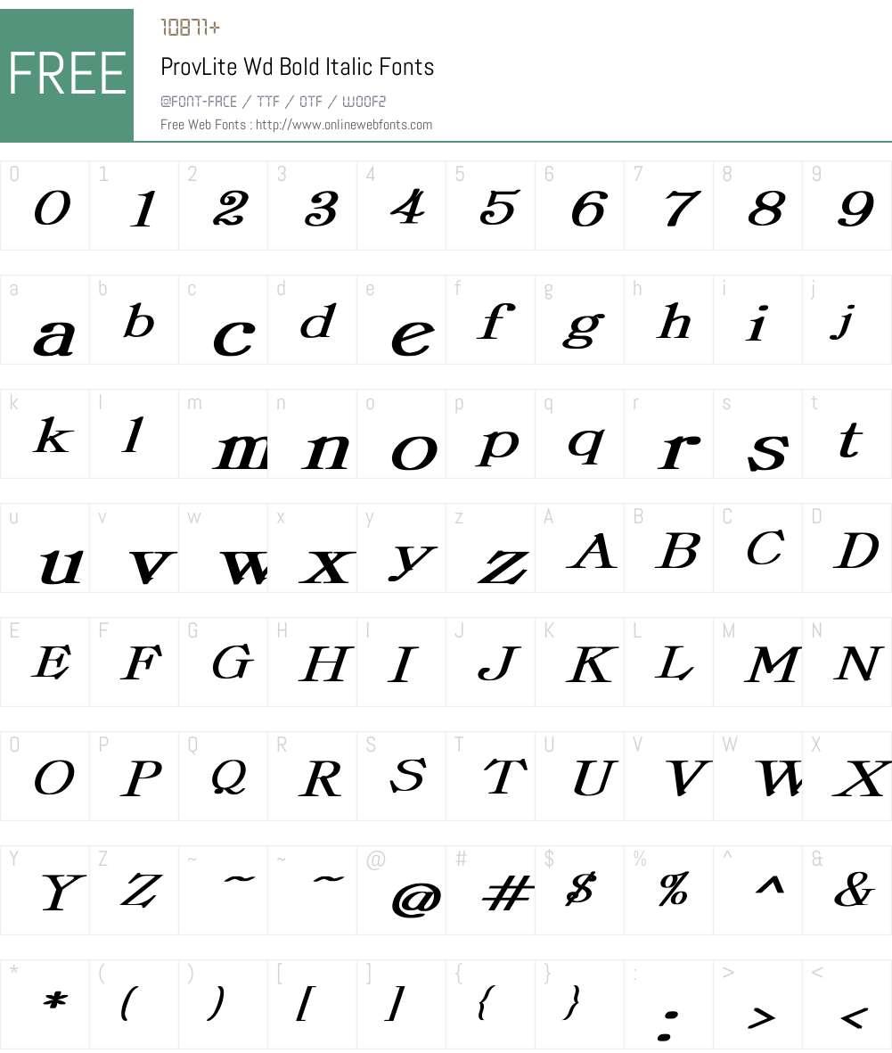 ProvLite Wd Bold Italic Font Screenshots