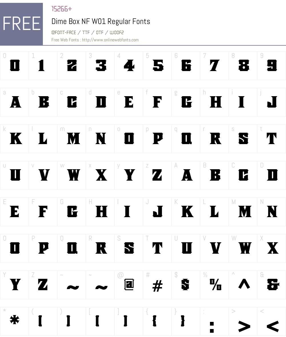 DimeBoxNFW01-Regular Font Screenshots