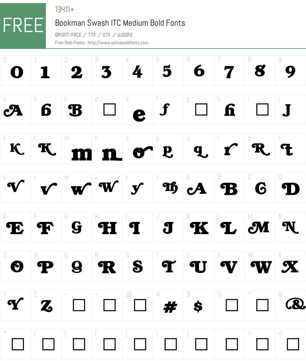 BookmanSwashITC-Bold Font Screenshots