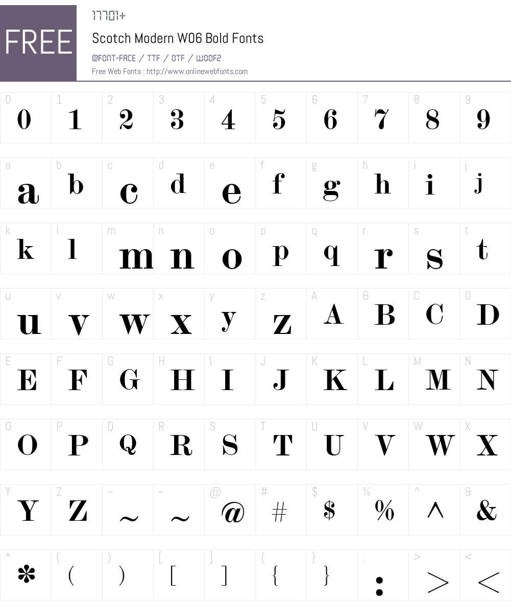 Scotch Modern Font Screenshots