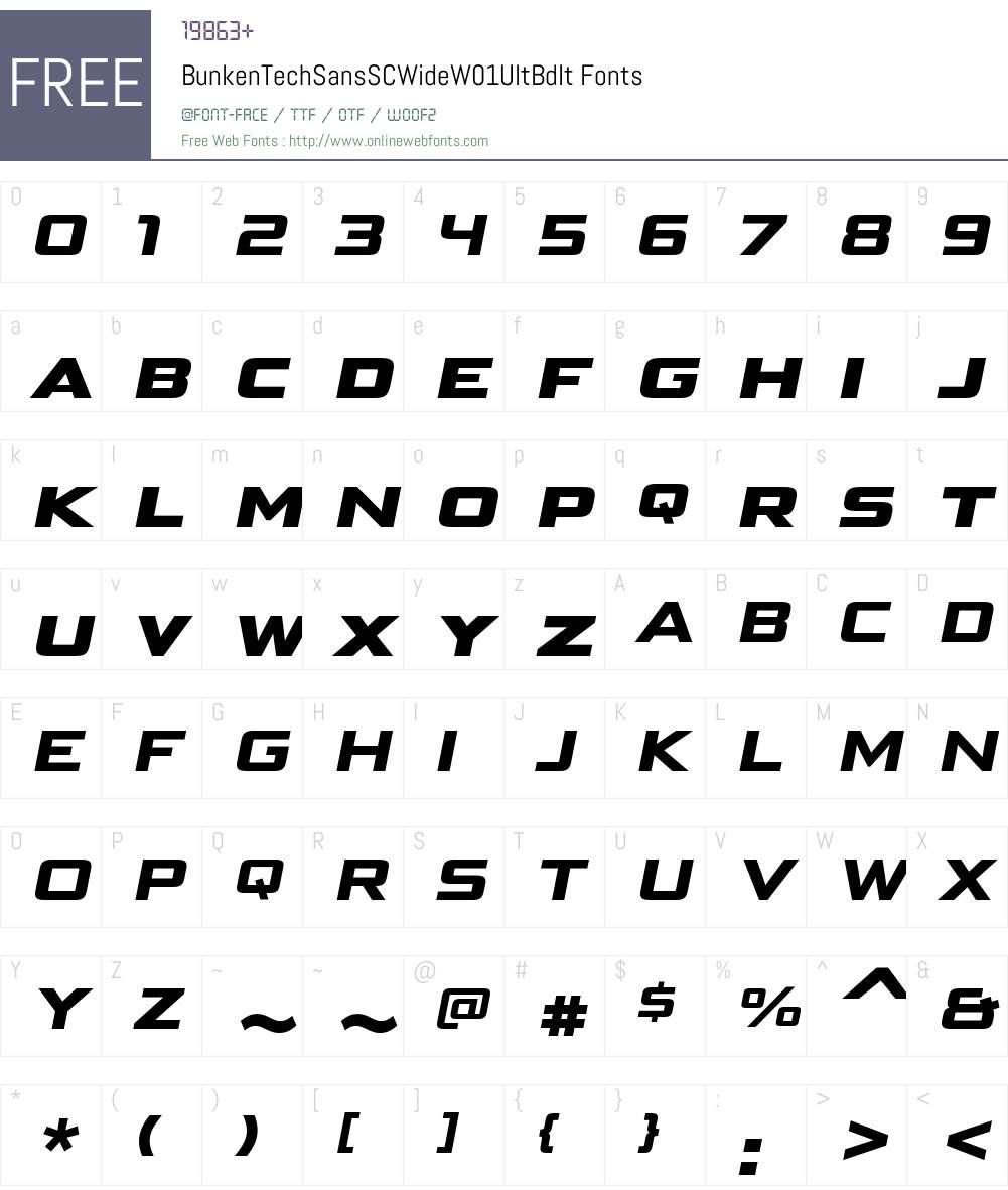 BunkenTechSansSCWideW01-UltBdIt Font Screenshots