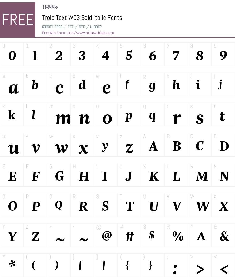 Trola Text Font Screenshots