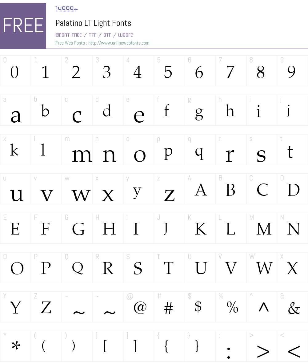 Palatino LT Light Font Screenshots