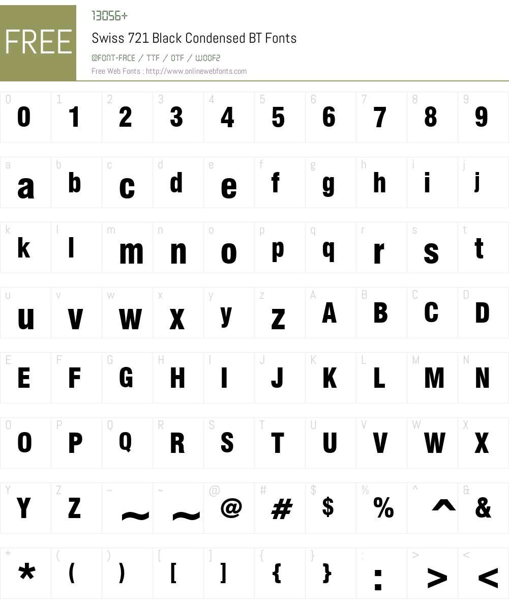 Swis721 BlkCn BT Font Screenshots