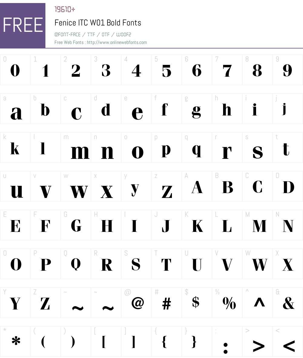 FeniceITCW01-Bold Font Screenshots