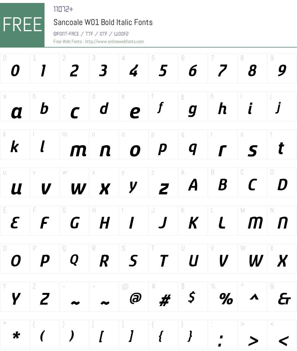 Sancoale Bold Italic Font Screenshots