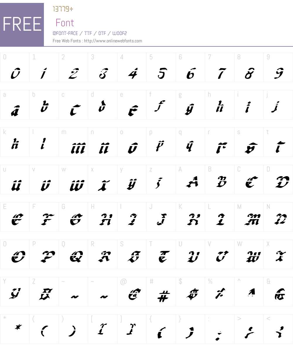 Uberhlme Lazar Italic Font Screenshots