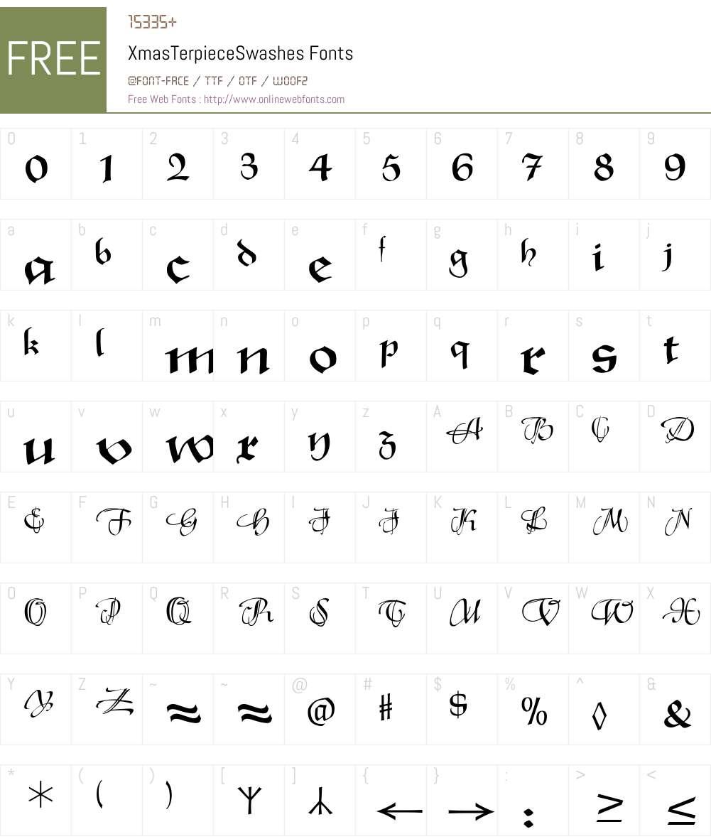 XmasTerpieceSwashes Font Screenshots