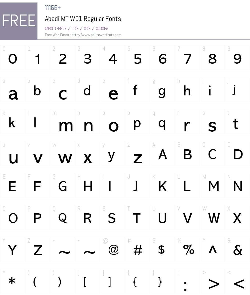 AbadiMTW01-Regular Font Screenshots