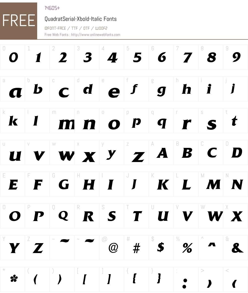 QuadratSerial-Xbold Font Screenshots