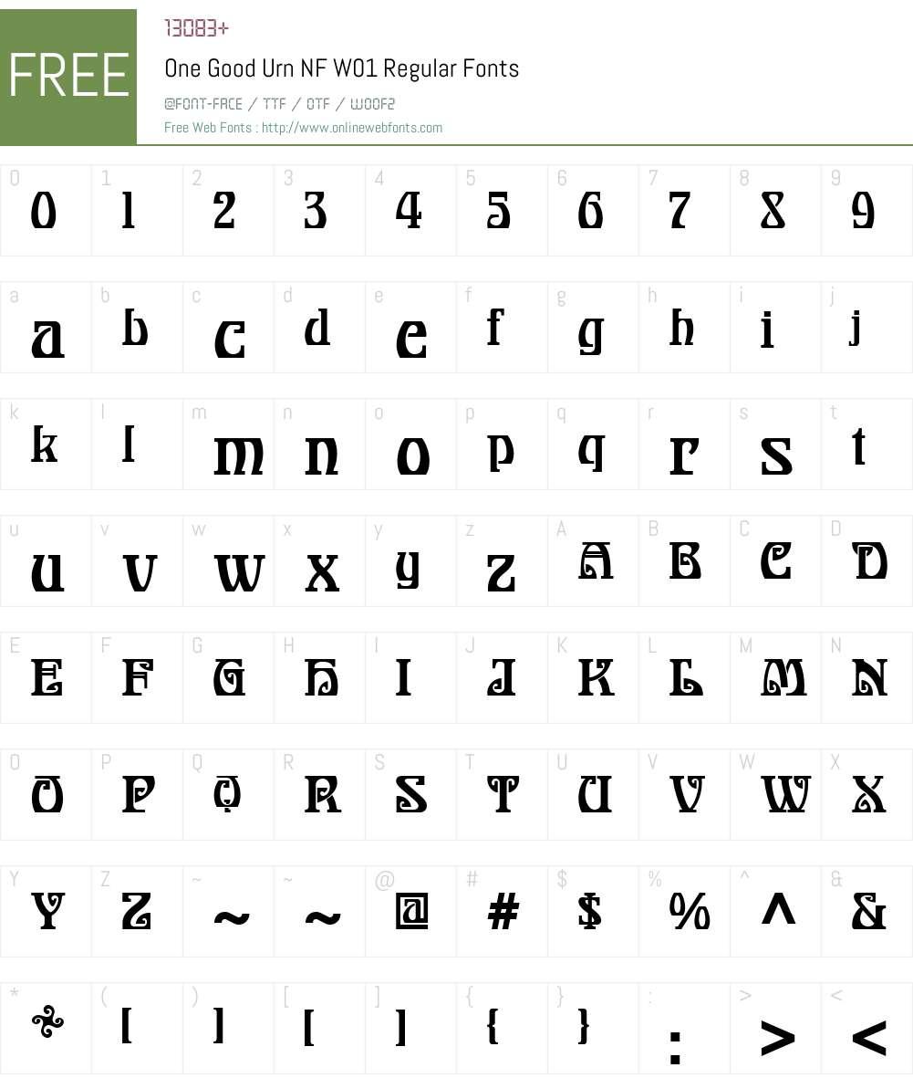 OneGoodUrnNFW01-Regular Font Screenshots
