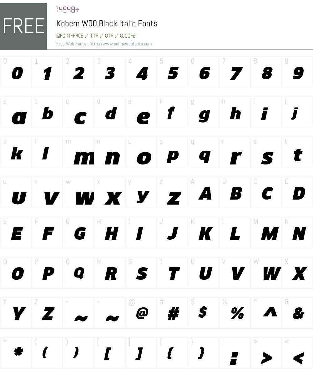 KobernW00-BlackItalic Font Screenshots