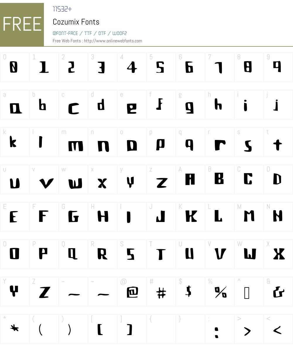 Cozumix Font Screenshots