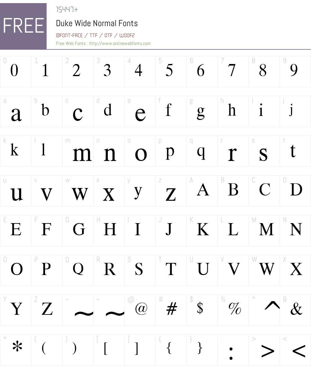 Duke Wide Font Screenshots
