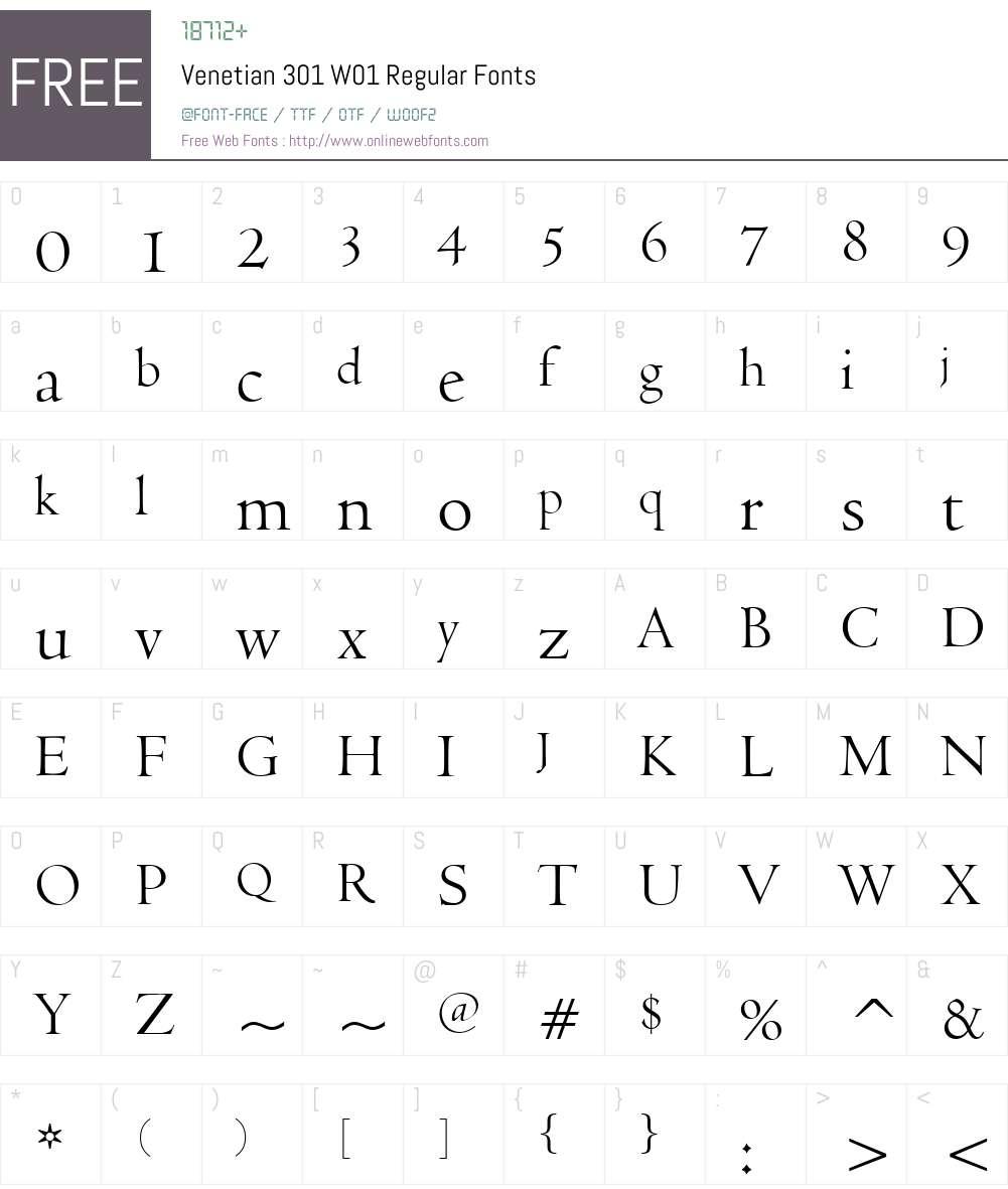 Venetian301W01-Regular Font Screenshots