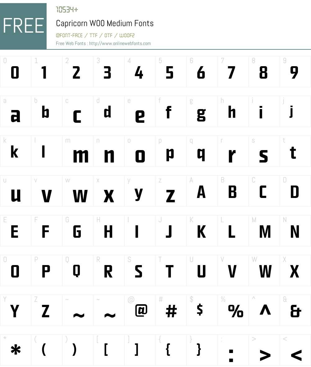 Capricorn Font Screenshots