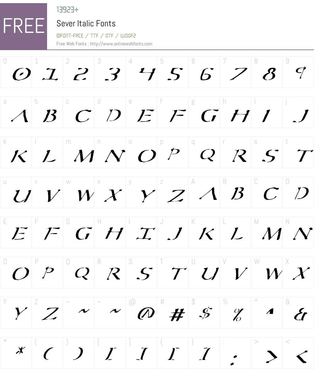 Sever Italic Font Screenshots