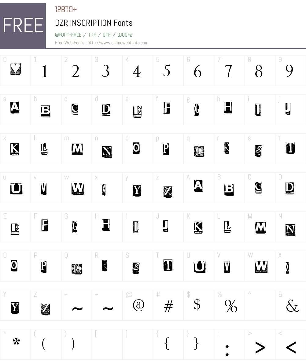 DZR INSCRIPTION Font Screenshots