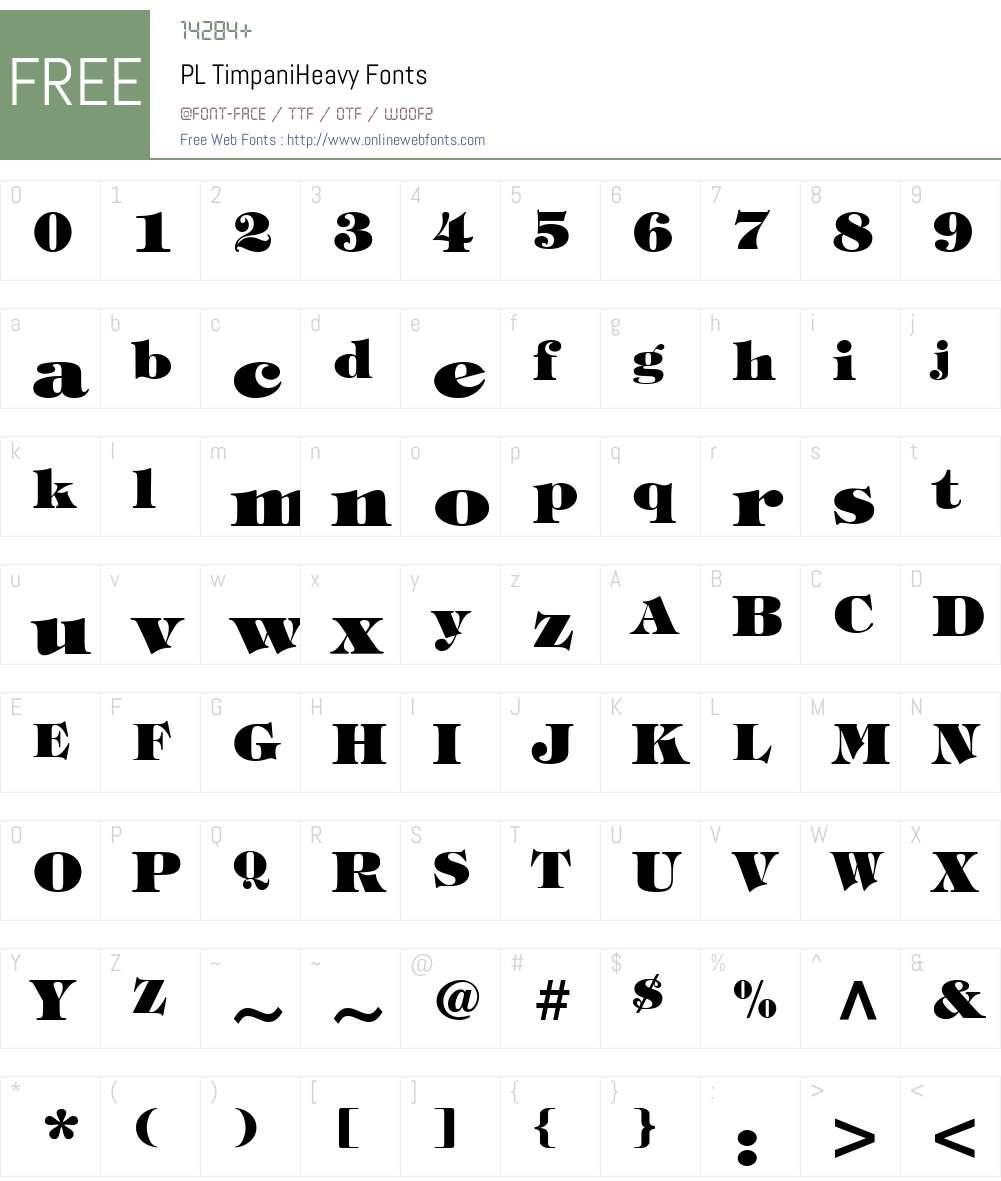 PL TimpaniHeavy Font Screenshots