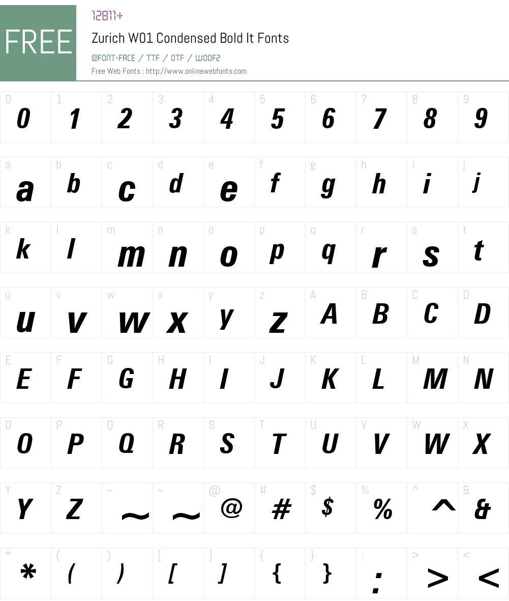 ZurichW01-CondensedBoldIt Font Screenshots