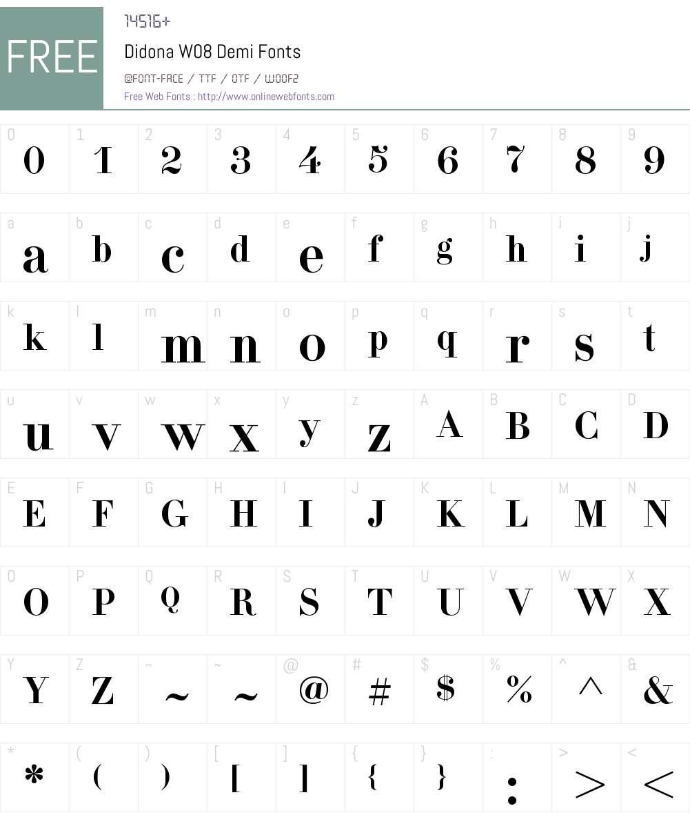 Didona Font Screenshots