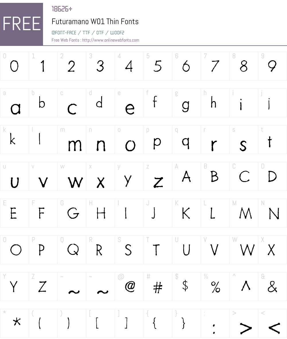 FuturamanoW01-Thin Font Screenshots