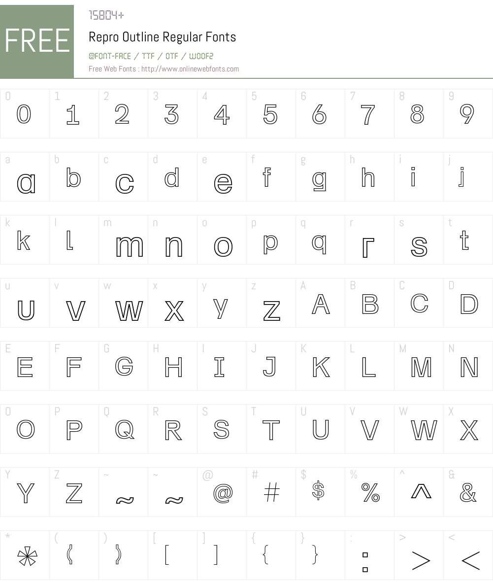 Repro Outline Font Screenshots